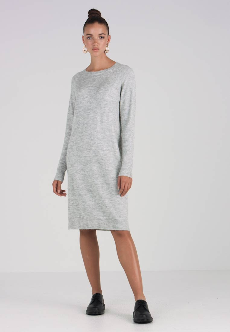 Nmmiles Dress Melange Grey Jumper Oneck Light Noisy May zqx566