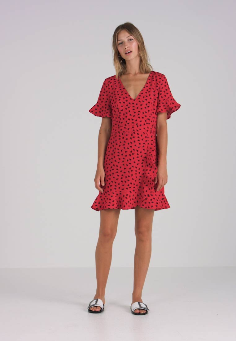 Oasis Heartbreak Ditsy Mid Red Day Ruffle Dress zzrqp01w