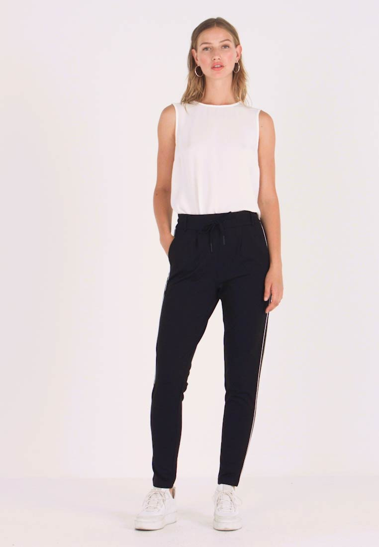 ONLY - ONLPOPTRASH EASY DUO MIX PANEL PANT - Trousers - black/piping white/forest night
