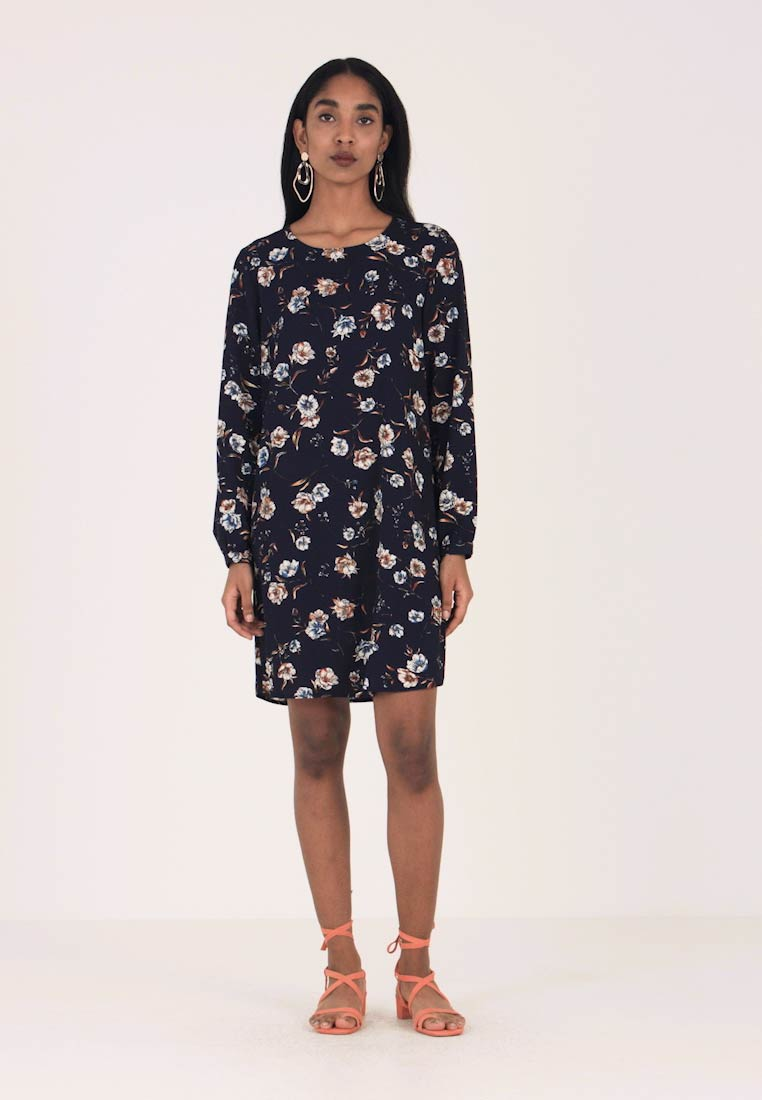 ONLY - ONYELVA L/S PUFF AOP DRESS WVN - Korte jurk - night sky flower