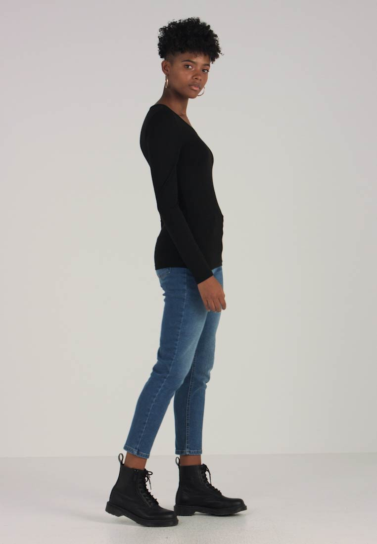 Sleeved Long O Black Mojo Neck Onlmolly Only solid Top zqUnfwwX4