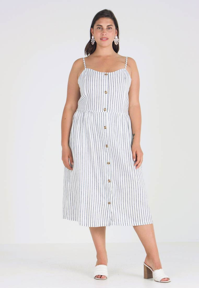 ONLY Carmakoma - CARUNA STRAP STRIPE DRESS - Skjortklänning - white/blue