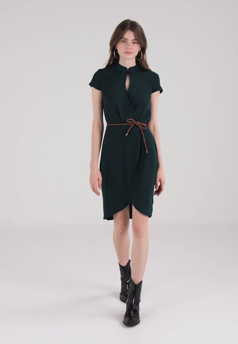 OVS DRESS WITH BELT - Robe dété - dark green