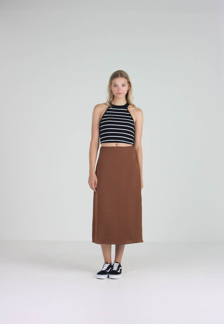 Pieces - PCSANDRA MIDI SKIRT - A-line skirt - bison