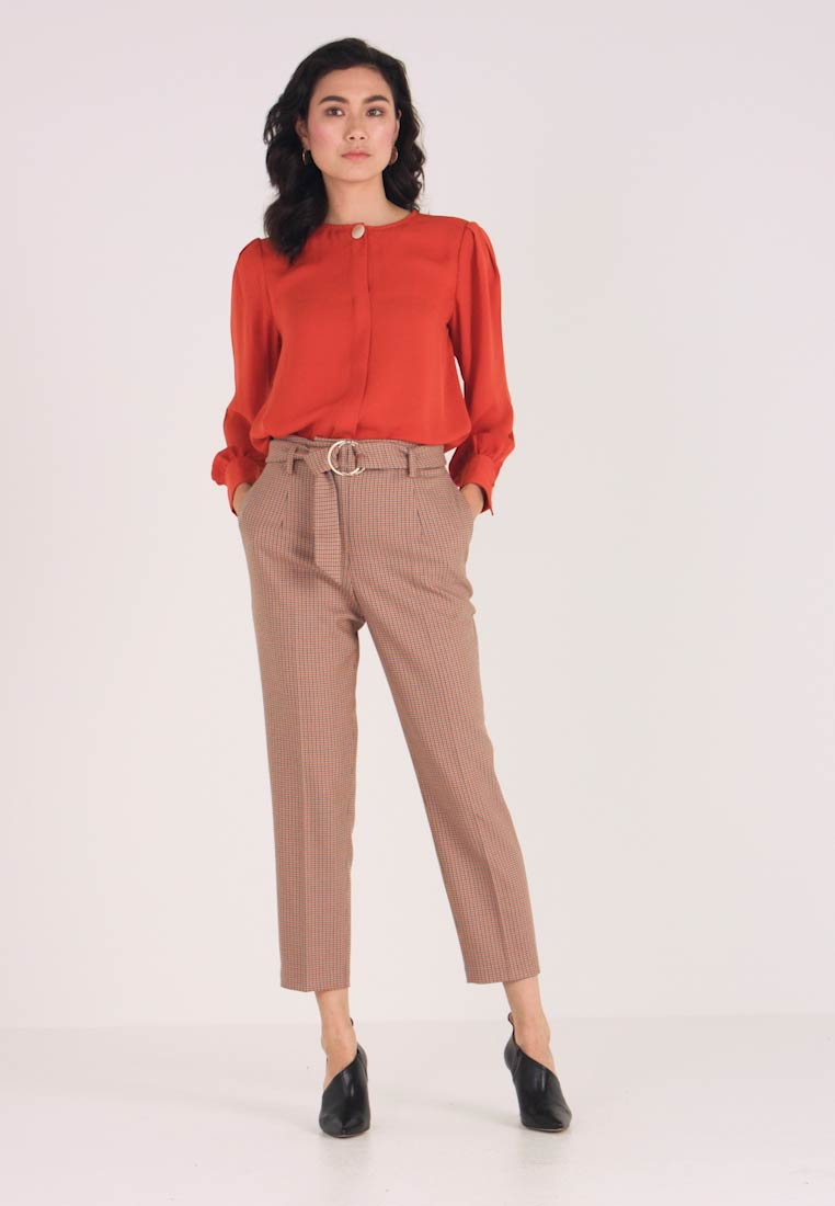 Pedro del Hierro - CHECHED TROUSER WITH BELT - Trousers - blues