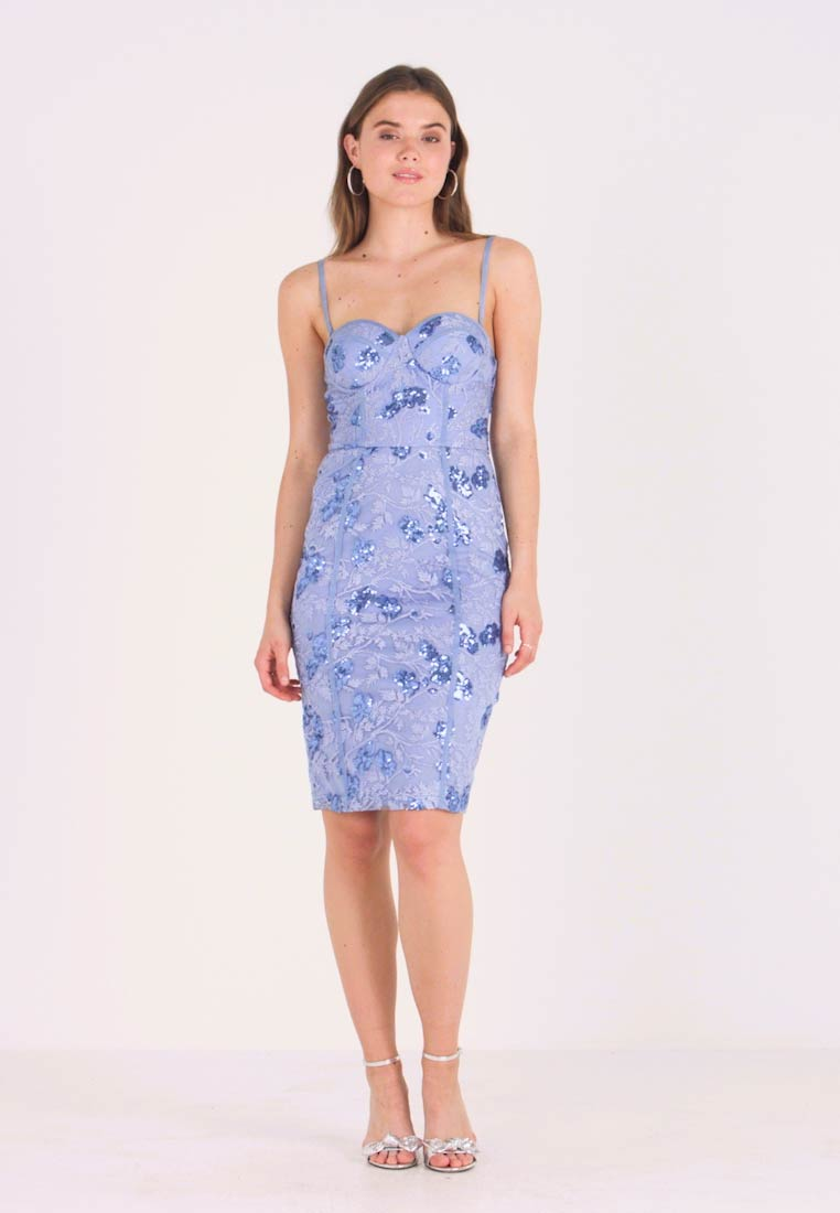 Rare London - SEQUIN DETAIL MIDI DRESS - Cocktailklänning - blue