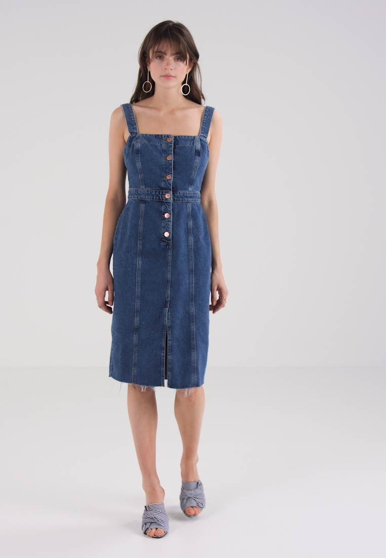 River Island FITTED MIDI DRESS - Dongerikjole - mid auth