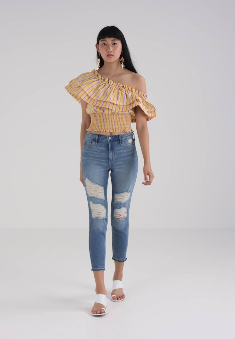 River Island ONE SHOULDER FRILL TOP STRIPE - Blouse - yellow