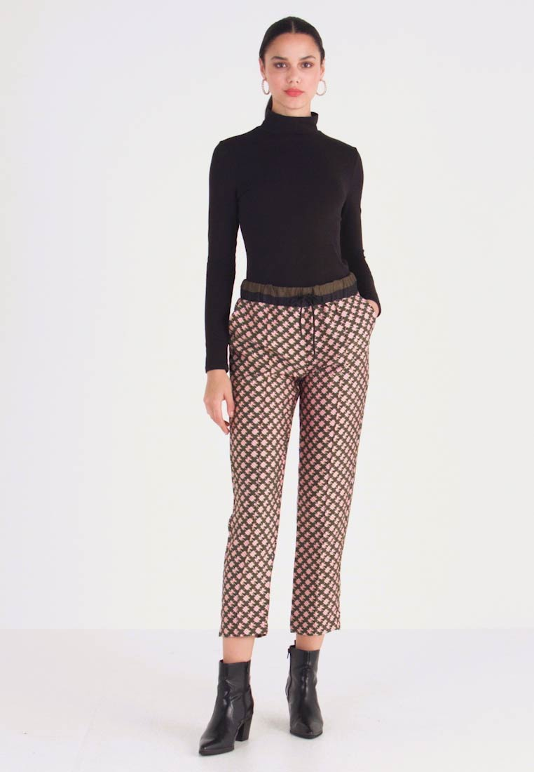 Scotch & Soda - PRINTED PANTS WITH CONTRAST WAISTBAND - Trousers - dark blue