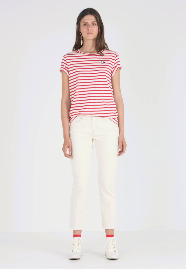 Scotch & Soda - STRIPED TEE WITH EMBROIDERY - T-shirts print - red/white