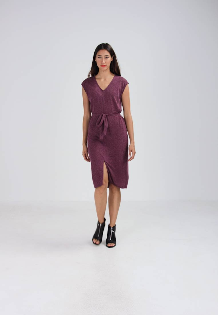 Sfivy V Slit neck Femme Wine Dress Mauve Jersey Selected 57gwOqR