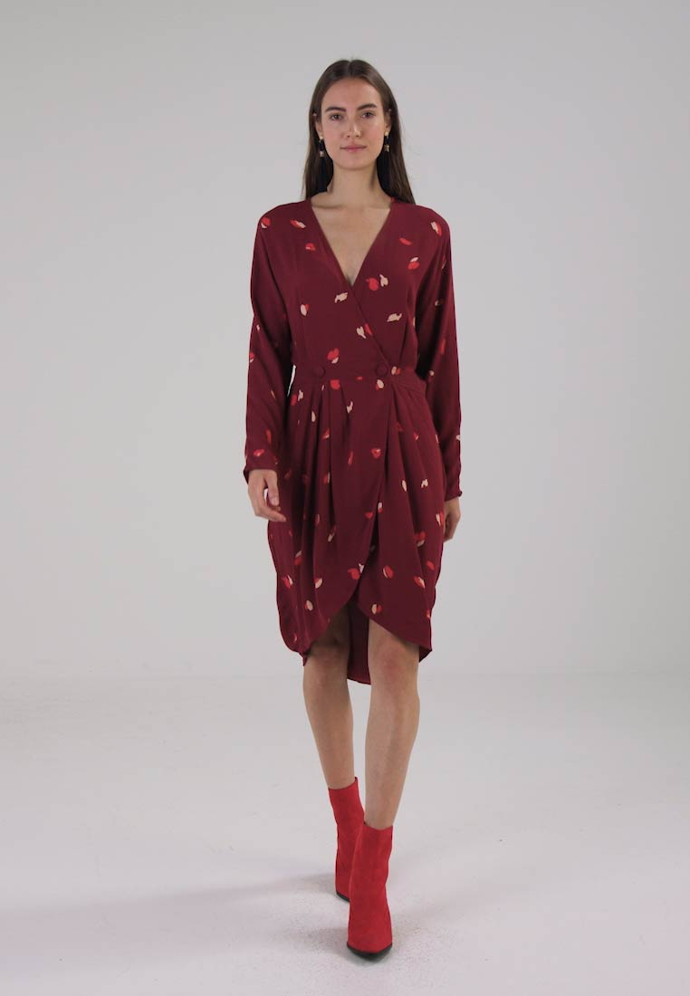 Selected Femme SFKALEO WRAP DRESS - Vestido informal syrah