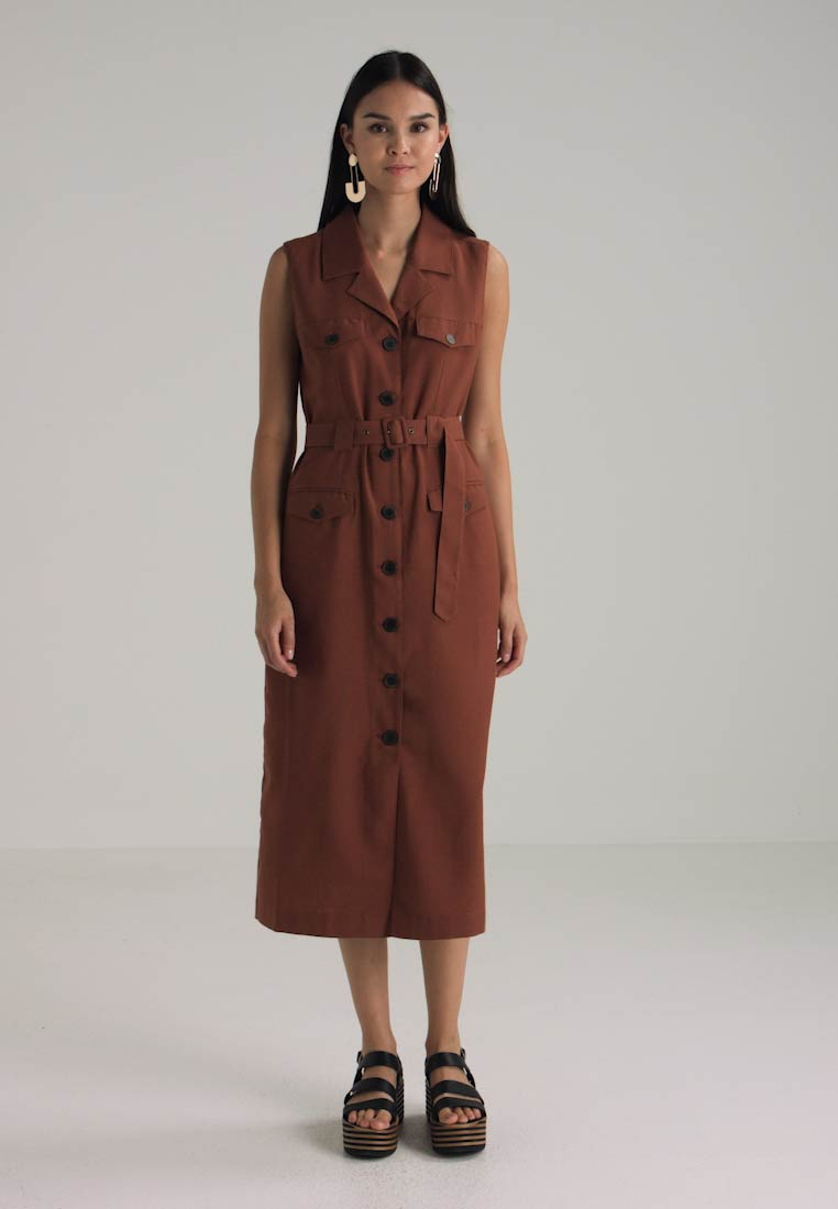 Selected Femme - SLFLINNY DRESS - Blusekjoler - tortoise shell