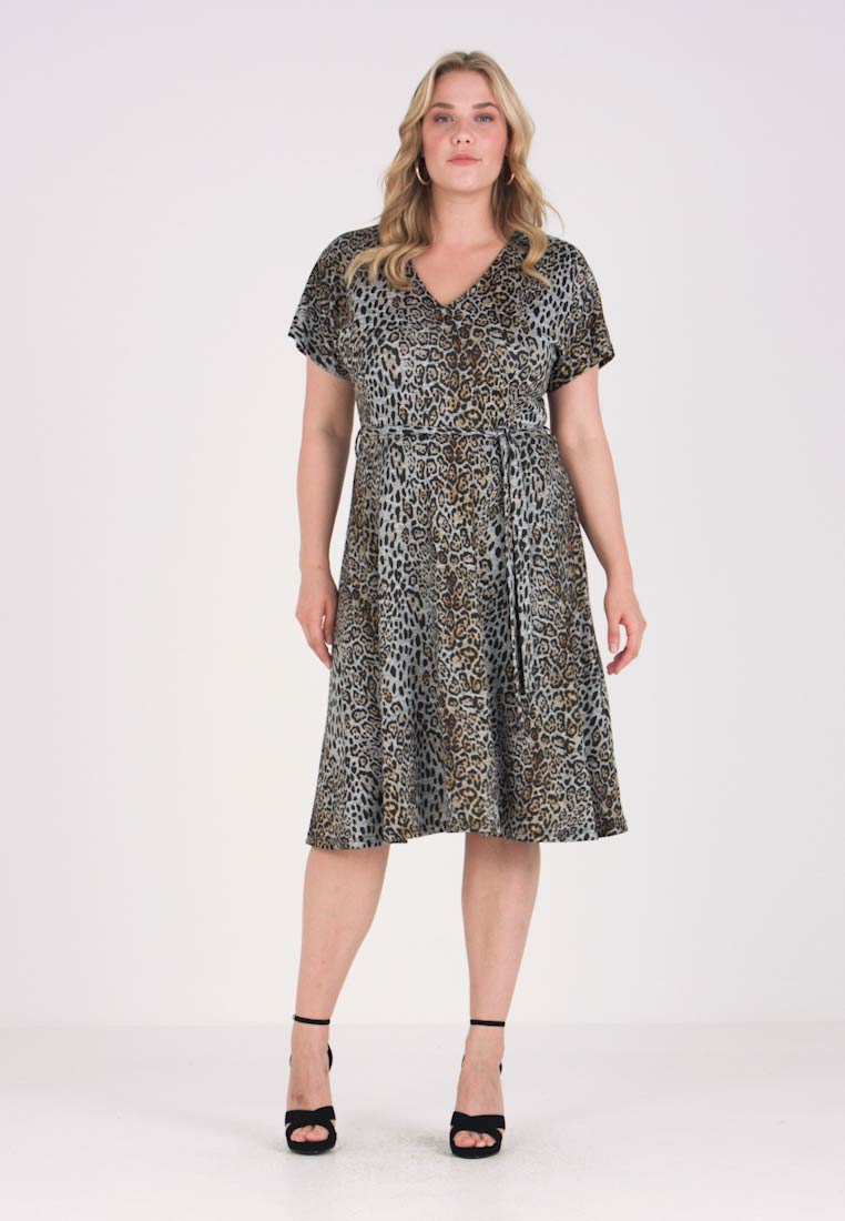 Simply Be - LEOPARD WRAP DRESS - Robe pull - multi coloured