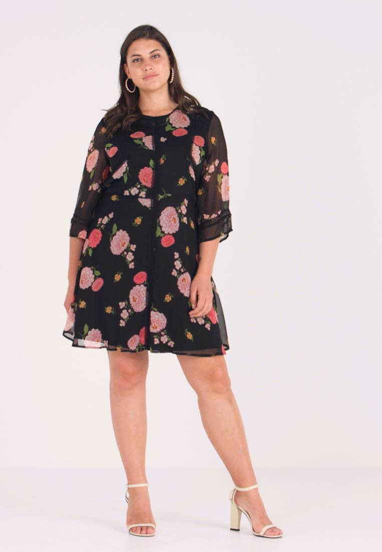 Simply Be - FLORAL SKATER DRESS - Freizeitkleid - black