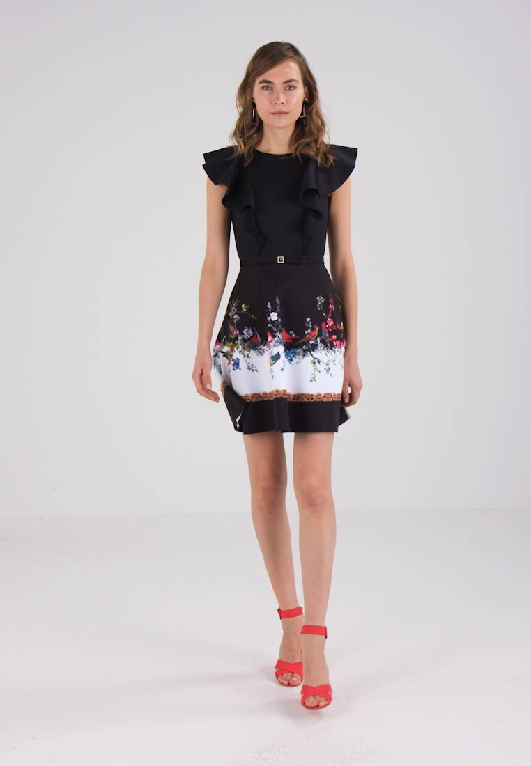 Ted Baker SHAELIN OPULENT FAUNA RUFFLE BOW DRESS - Cocktailkjole - black
