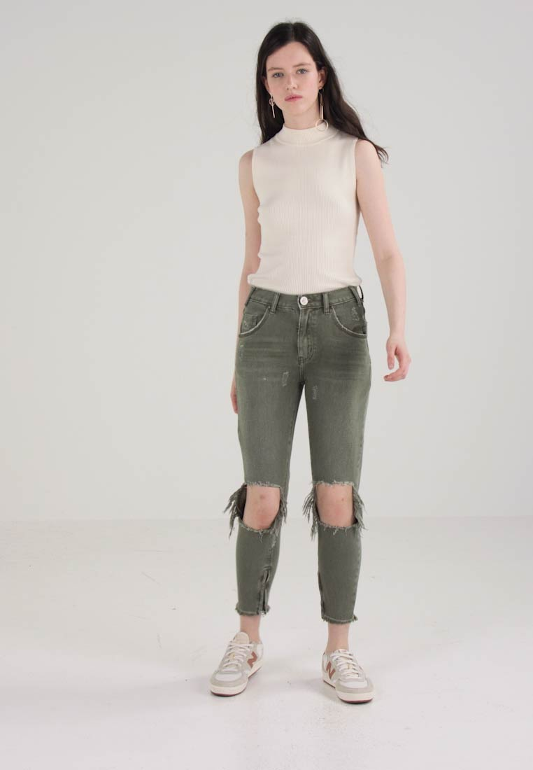 One Teaspoon SUPER KHAKI HIGH WAIST FREEBIRDS SKINNY PANT - Jeans Skinny Fit - super khaki