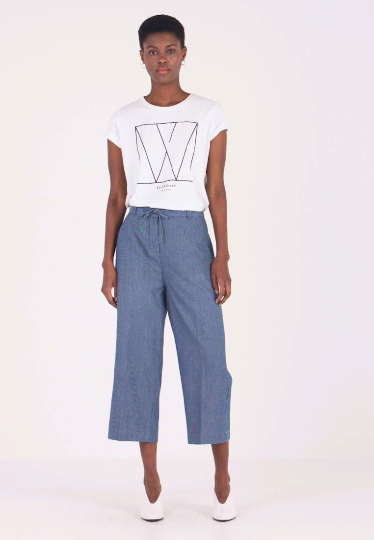 TOM TAILOR - CROPPED STRAIGHT LEG PANTS - Stoffhose - blue