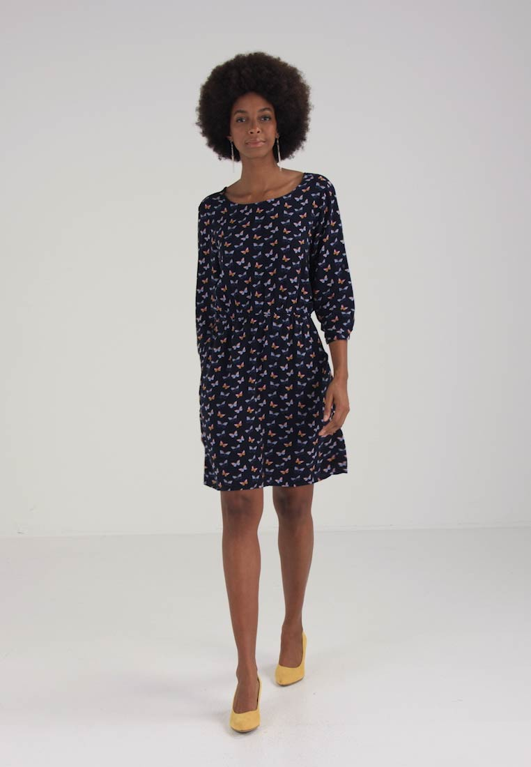 TOM TAILOR ROMANTIC BUTTERFLY DRESS - Sommerkjole - real navy blue