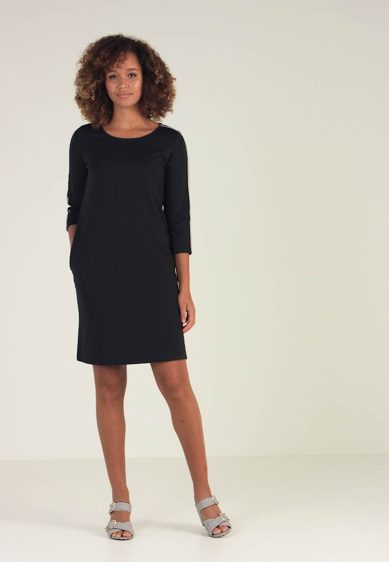 TOM TAILOR - INTERLOCK DRESS WITH STRIPE - Jerseykjoler - real navy blue