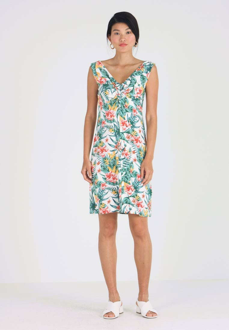 TOM TAILOR - DRESS KNOT PRINTED - Jerseykleid - offwhite