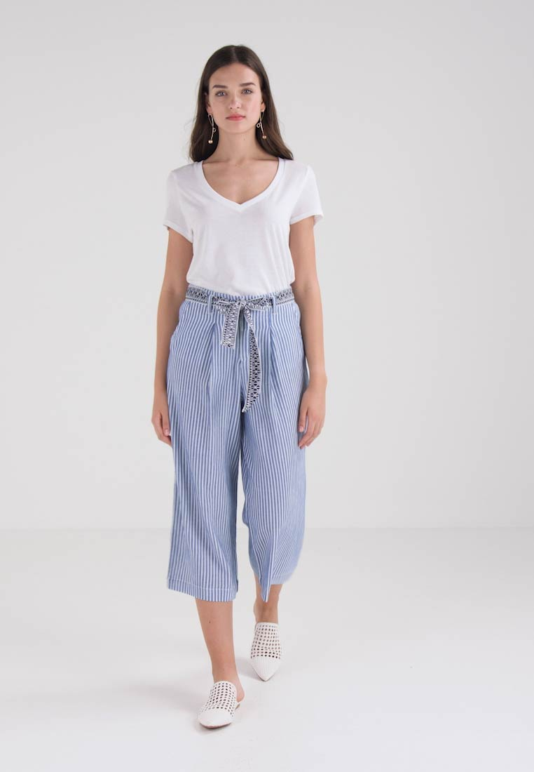 TOM TAILOR DENIM CROPPED CULOTTE WITH BELT - Pantalon classique - light blue