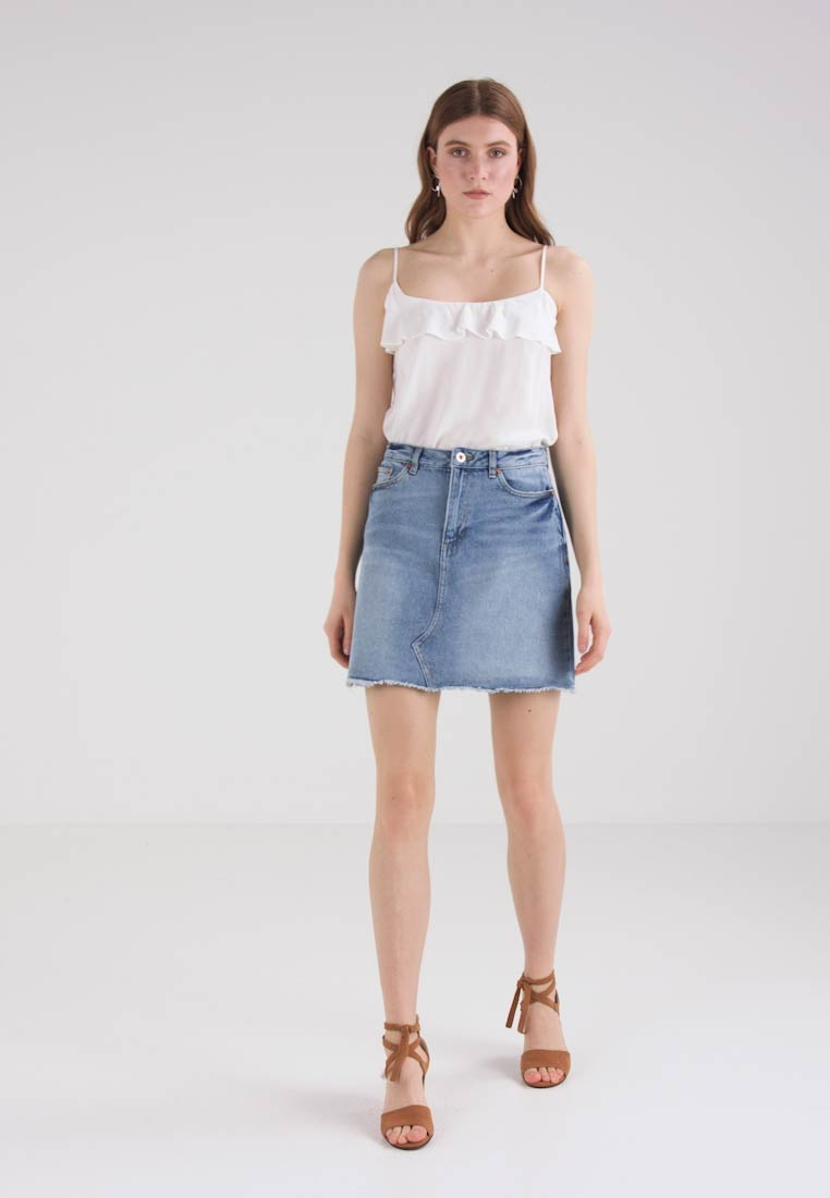 TOM TAILOR DENIM A SHAPE SKIRT - Jupe trapèze - light stone wash denim
