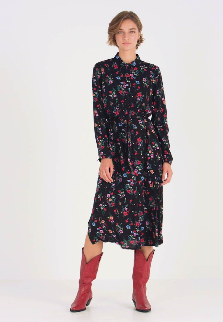 TOM TAILOR DENIM - SHIRT DRESS WITH FLOWER - Blusenkleid - black