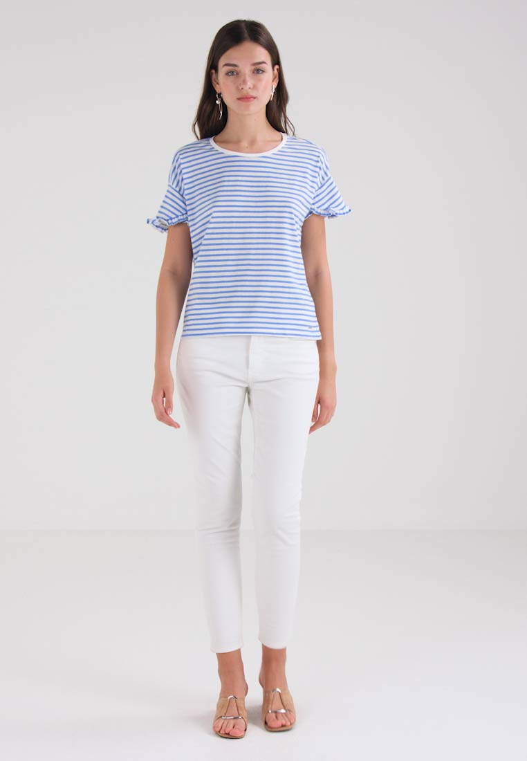 TOM TAILOR DENIM STRIPED TEE WITH RUFFLE SLEEVE - T-shirts med print - light blue