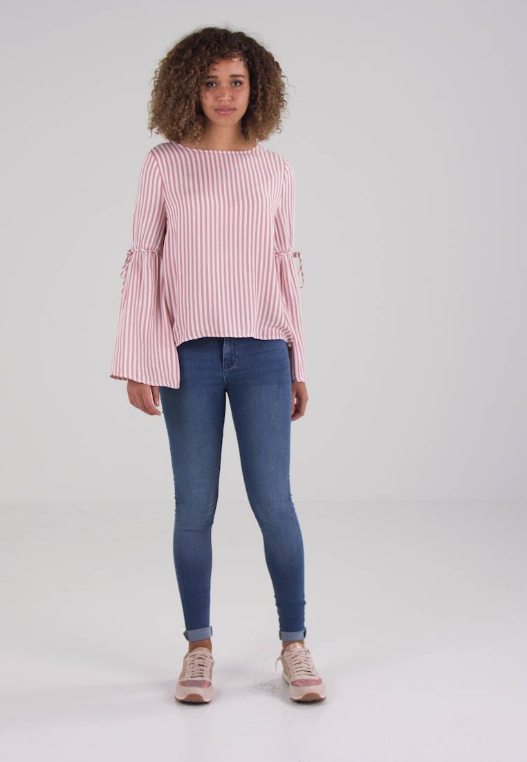 STRIPED TRUMPET SLEEVE BLOUSE - Camicetta dusty rose