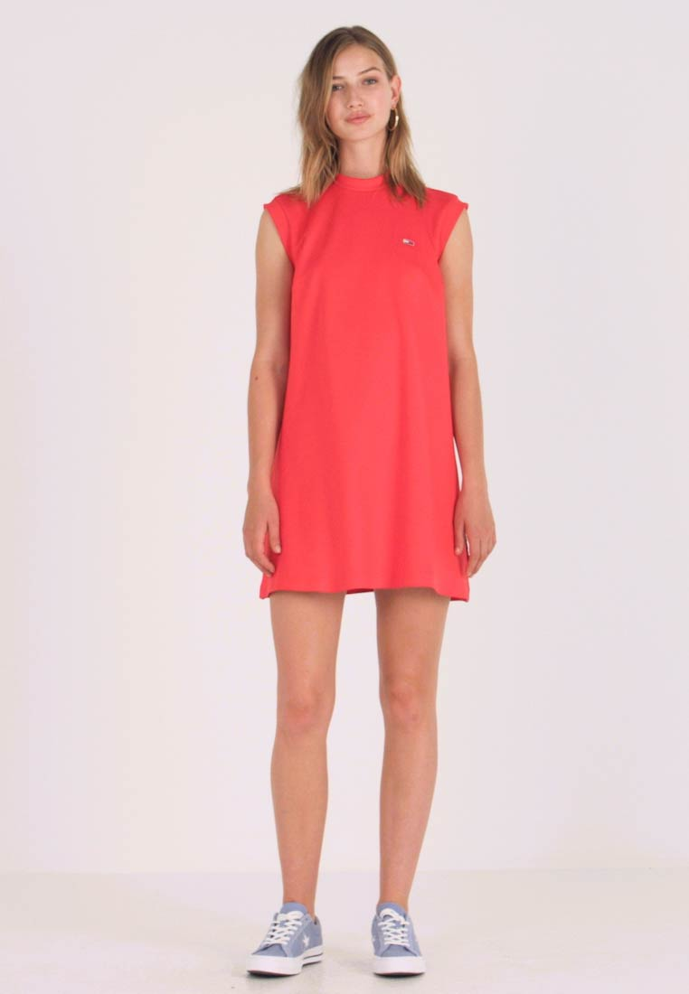 Tommy Jeans - A LINE PIPING DRESS - Jerseyjurk - flame scarlet