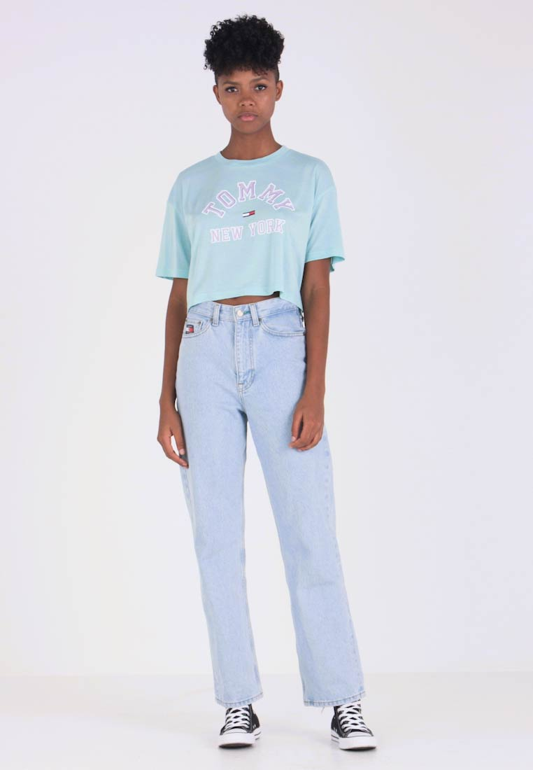Tommy Jeans - COLLEGIATE TEE - T-shirt print - canal blue
