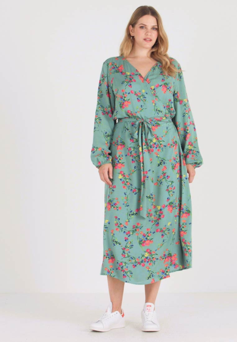 MY TRUE ME TOM TAILOR - WRAP DRESS WITH FLORAL - Hverdagskjoler - black floral design