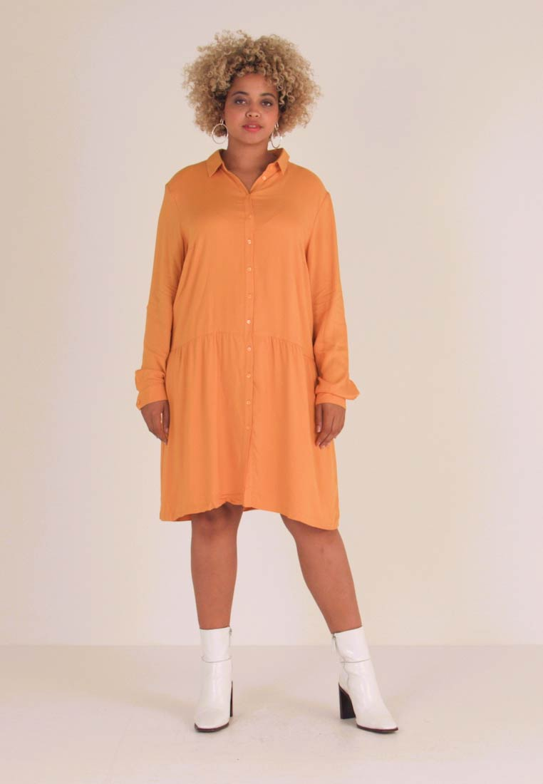 MY TRUE ME TOM TAILOR - DRESS WITH TURN UPS - Shirt dress - merigold yellow