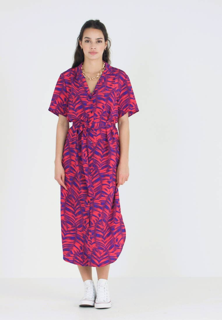 Topshop - PALM BOWLER DRESS - Maxikjoler - pink