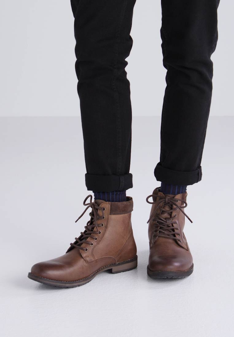 Topman ROGUE ZIP - Botines con cordones brown