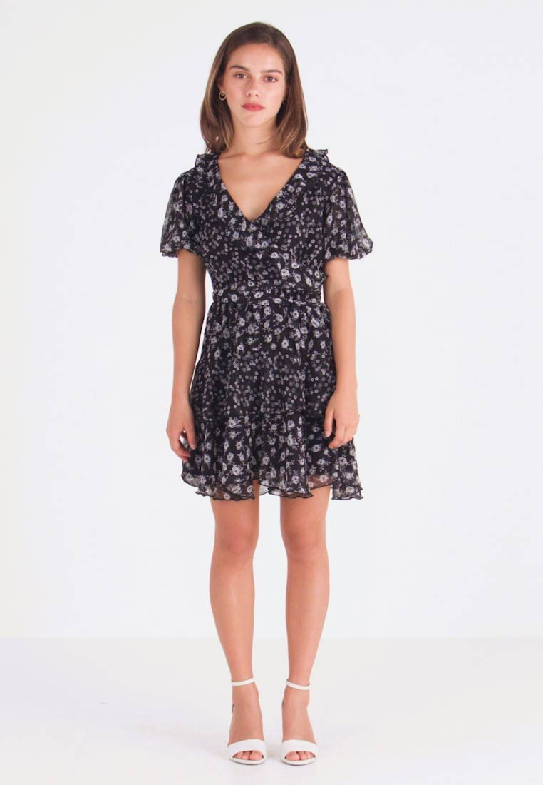 Topshop Petite - RUFFLE DITSY DRESS - Day dress - black