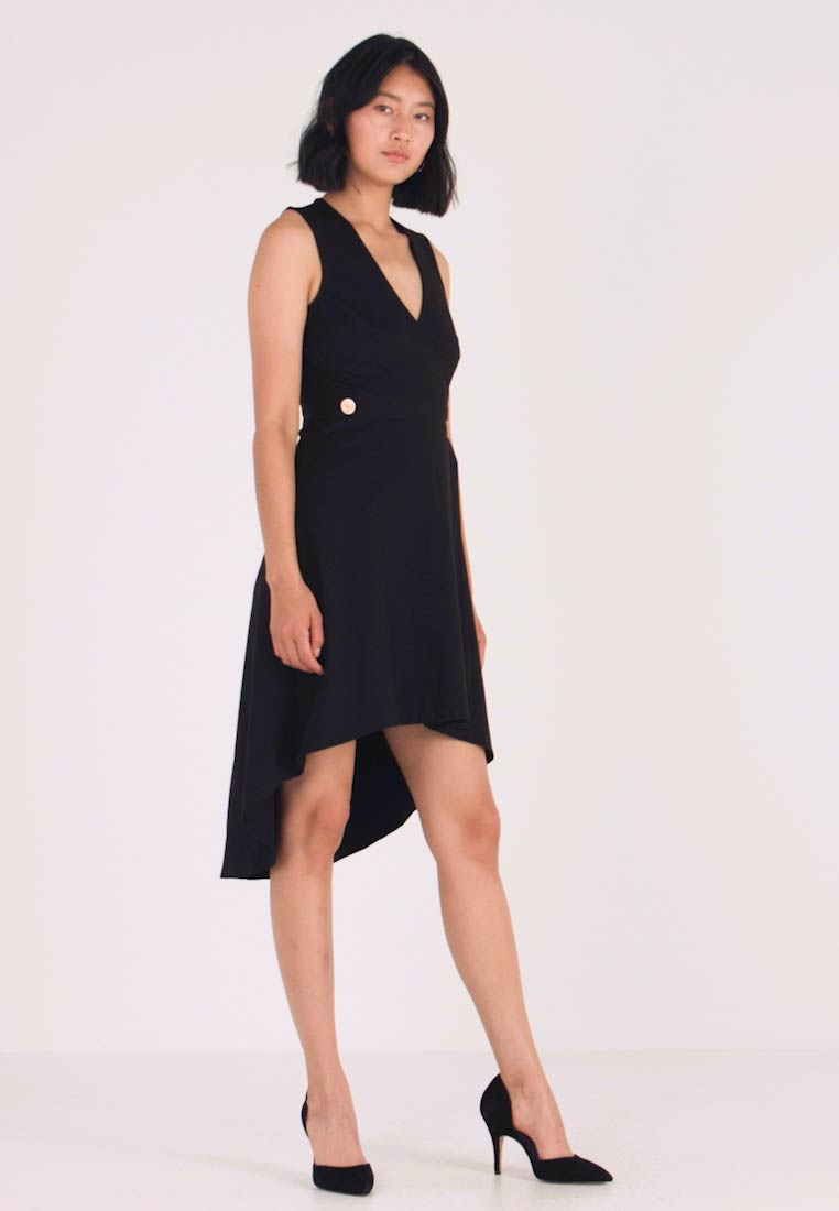 UNIQUE 21 - HEAVY BUTTON SLEEVELESS WRAP MIDI DRESS - Jerseykjole - black