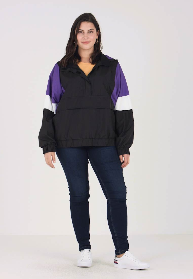 Urban Classics Curvy - LADIES LIGHT JACKET - Leichte Jacke - black/ultraviolet/white