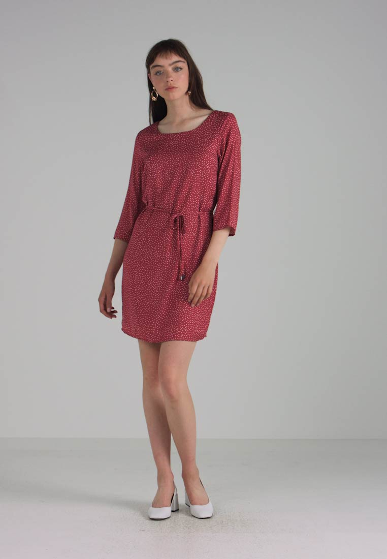 Vila VICAVA 3/4 SLEEVE DRESS - Vardagsklänning - earth earth earth röd/brienne 0487b2
