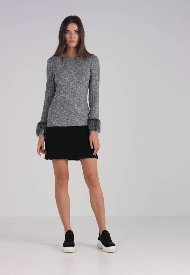 Vila Dark Viklaudie Top Long Sleeved Cuff Grey qrAUw4q7nX