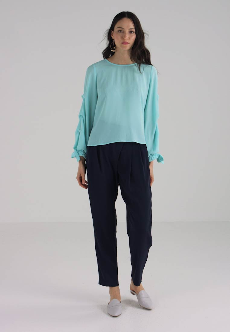Tie Tiered Textured Camuto Vince Aqua Blouse Glow Cuff SZqECCxw