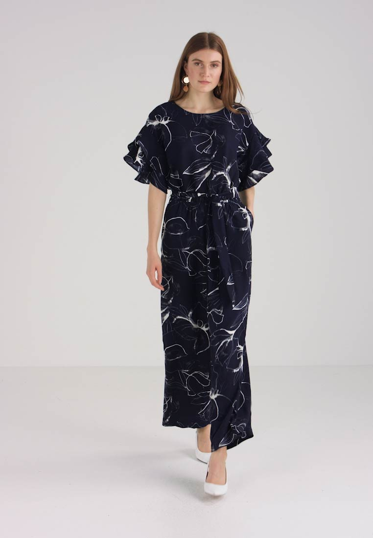 Night Petals Camuto Vince Jumpsuit Ruffle Sky Fresco Belted SFxznq8