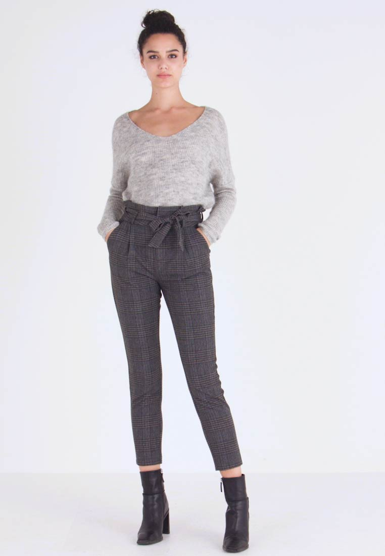 Vero Moda - VMEVA PAPERBAG CHECK PANT - Pantalon classique - dark grey melange/grey/brown