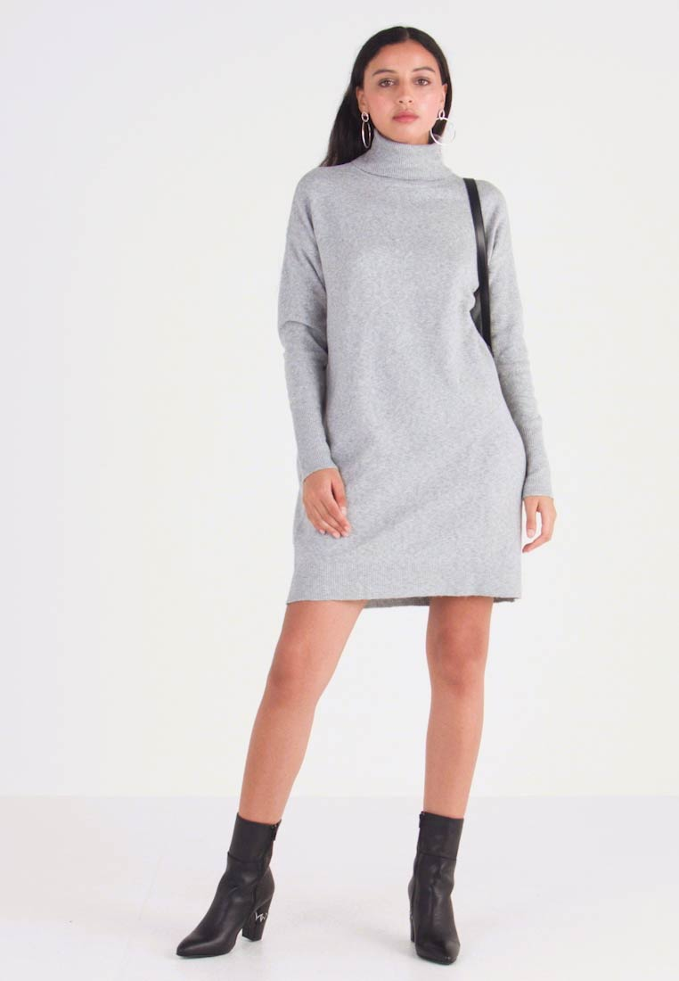 Vero Moda - VMBRILLIANT ROLLNECK DRESS - Robe pull - light grey melange