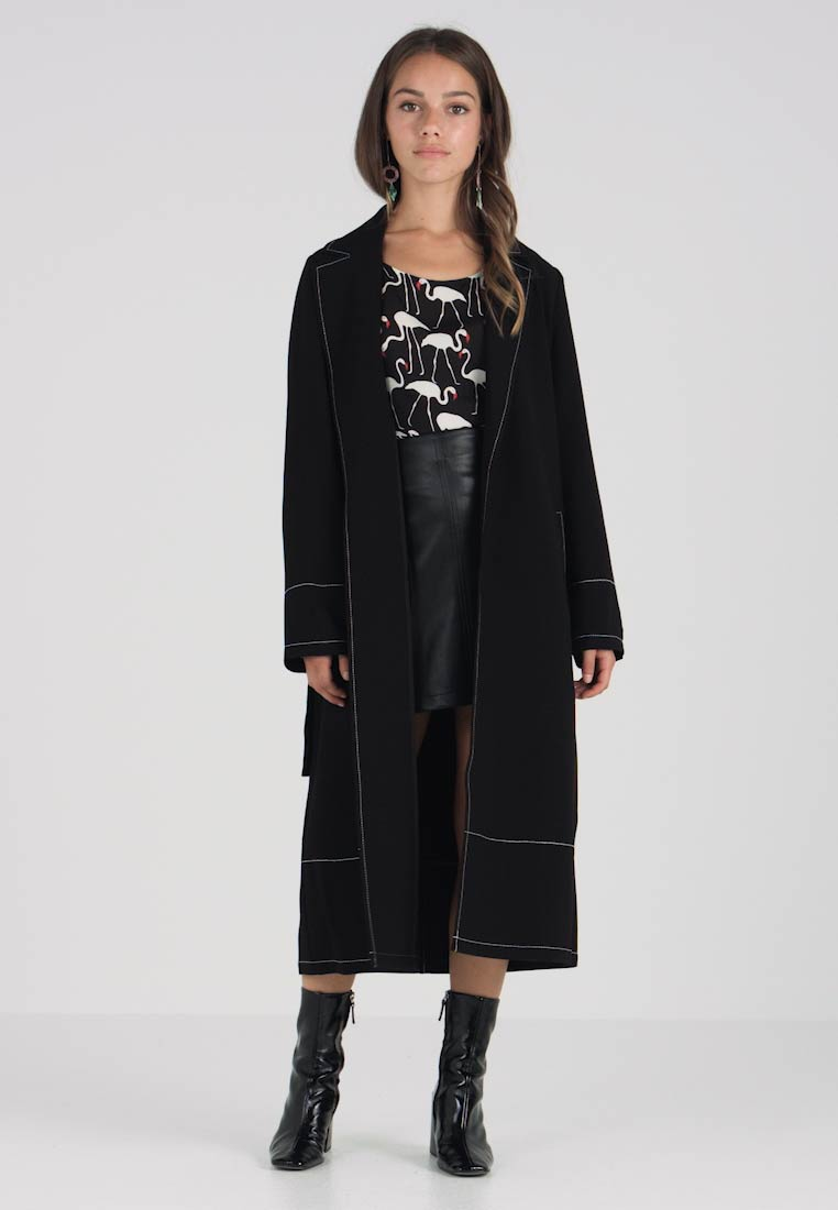 Vince Camuto Petite - NOTCH COLLAR COAT - Trench - rich black