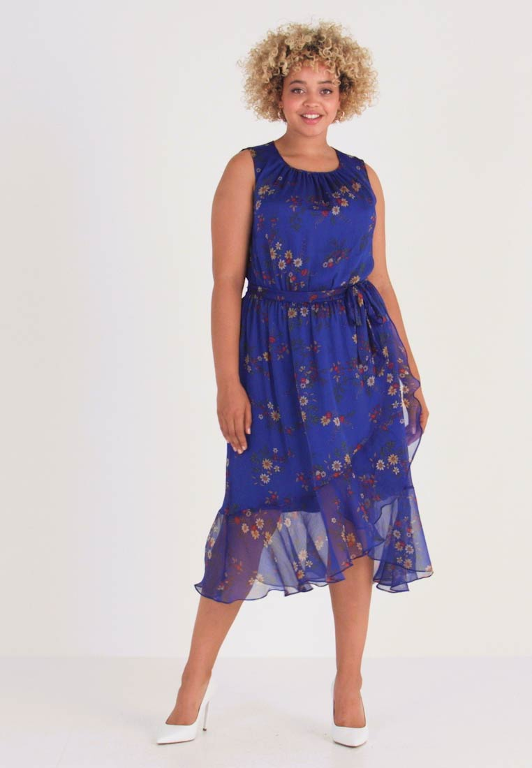 Vince Camuto Plus - RUFFLED HEM BELTED COUNTRY - Day dress - electric blue
