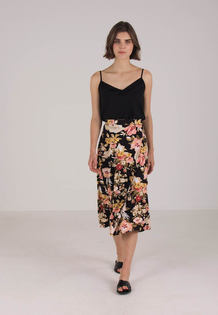 Warehouse HIBISCUS SKIRT - A-line skjørt - black base