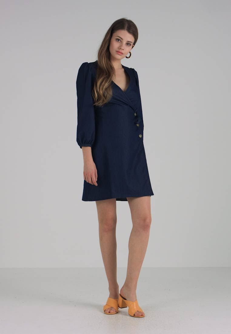 Warehouse - WRAP DRESS - Denim dress - denim