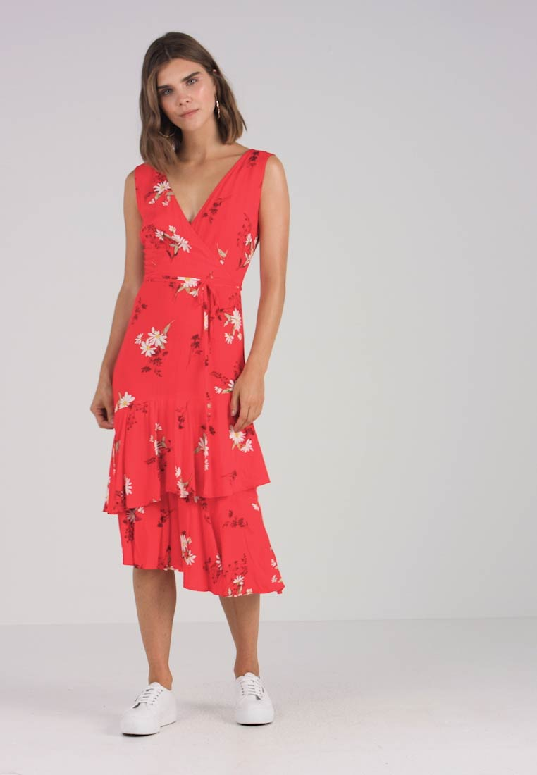 Day Wrap Daisy Dress Red Midi Warehouse TPBUqw